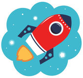 Colorful cartoon Rocket in space isolated on white — Stock Vector