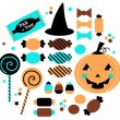 Halloween cute sweet Candy set isolated on white — Stock Vector #33579611