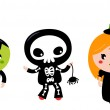 Cute halloween Kids - Zombie, Skeleton and Witch — Stock Vector #33579803