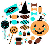 Halloween cute sweet Candy set isolated on white — Stock Vector