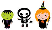 Cute halloween Kids - Zombie, Skeleton and Witch — Stock Vector