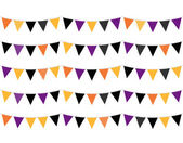 Halloween colorful Bunting or Flags isolated on white — Stock Vector