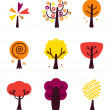 Colorful Autumn Vector Trees set isolated on white — Stock Vector