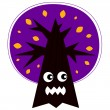 Cute Angry Halloween tree isolated on white — Stock Vector