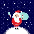 Cute retro Santa isolated on winter night snowing background  — Stock Vector