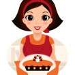 Retro cartoon Woman serving Thanksgiving food — Stockvektor