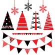 Stock Vector: Abstract xmas trees and design elements isolated on white