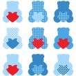 Cute Teddy Bear with hearts set isolated on white ( blue & red ) — Stok Vektör
