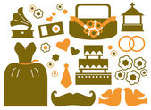 Retro wedding design elements ( brown ) — Vector de stock