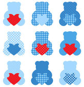 Cute Teddy Bear with hearts set isolated on white ( blue & red ) — Stock Vector