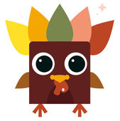 Cute retro colorful Turkey isolated on white — Stock Vector