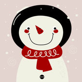 Retro Snowman with red Scarf on snowing background — Stock Vector
