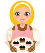 Retro Cooking blond Woman serving sweet food ( pink & brown ) — Stock Vector