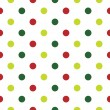 Christmas Polka Dot background in red, green and white — Stock Vector