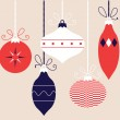 Colorful retro Christmas balls collection, vector — Stock Vector