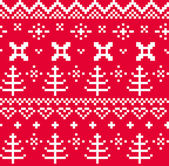 Christmas Norwegian seamless knitting pattern ( red & white ) — Stockvector