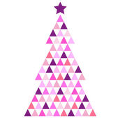 Merry Christmas pink Mosaic Tree isolated on white — Stock Vector