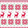 Stock Vector: Nordic seamless knitted christmas pattern vector ( red and green