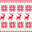 Nordic seamless knitted christmas pattern vector ( red and green — Stock Vector