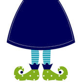 Cute christmas elf legs with skirt isolated on white — Stock Vector