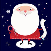 Beautiful cute Santa with delivery note on dark blue background — Stock Vector