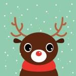 Cute cartoon christmas Deer on snowing background — Stock Vector