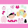 Cute spa set elements with beautiful girls ( pink ) — Stock Vector
