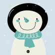 Cute retro stylized hand drawn Snowman — Stock Vector