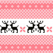 Stock Vector: Norway pattern with reindeer ( pink and white )