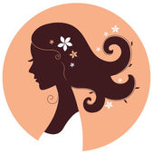 Beautiful spring girl silhouette in circle — Stock Vector