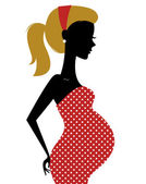 Retro pregnant woman in dotted dress isolated on white — Stock Vector