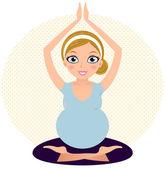 Mooie zwangere moeder op gestippelde cirkel — Stockvector