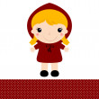 Cute retro Red riding hood isolated on white — Stock Vector