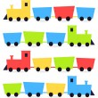 Childish cartoon colorful trains isolated on white — Stock Vector