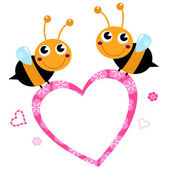Cute flying Bees with pink love Heart isolated on white — Stock Vector