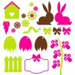 Spring easter elements isolated on white — Stock Vector