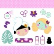 Cute spa set elements with beautiful girls ( pink ) — Stock Vector #42054427