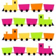 Colorful Trains set isolated on white ( pink, orange, green ) — Stock Vector