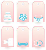Wedding labels set isolated on white ( pink & blue ) — Vetor de Stock