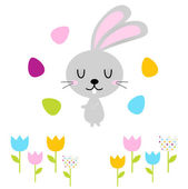 Cute easter bunny with eggs isolated on white — Stock Vector