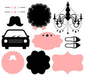 Vintage design elements isolate on white ( black & pink ) — Stock Vector