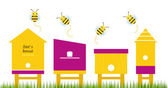 Bee houses spring collection vector — Stock Vector