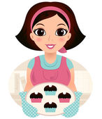 Young baking woman holding cookies — Stock Vector