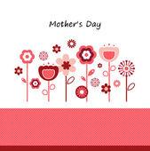 Gratulationskort med blommor för mors dag isolerad på vit — Stockvektor