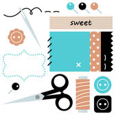 Sewing and Needlework accessories isolated on white — Stock Vector