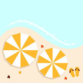 Beach summer background with umbrellas — Stock Vector