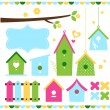 Spring colorful bird houses isolated on white — Stock Vector