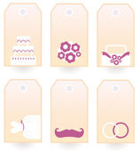 Retro Wedding tags or labels set isolated on white — Stock Vector