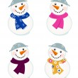 Cute vector snowmen collection isolated on white — Stock Vector #7367723