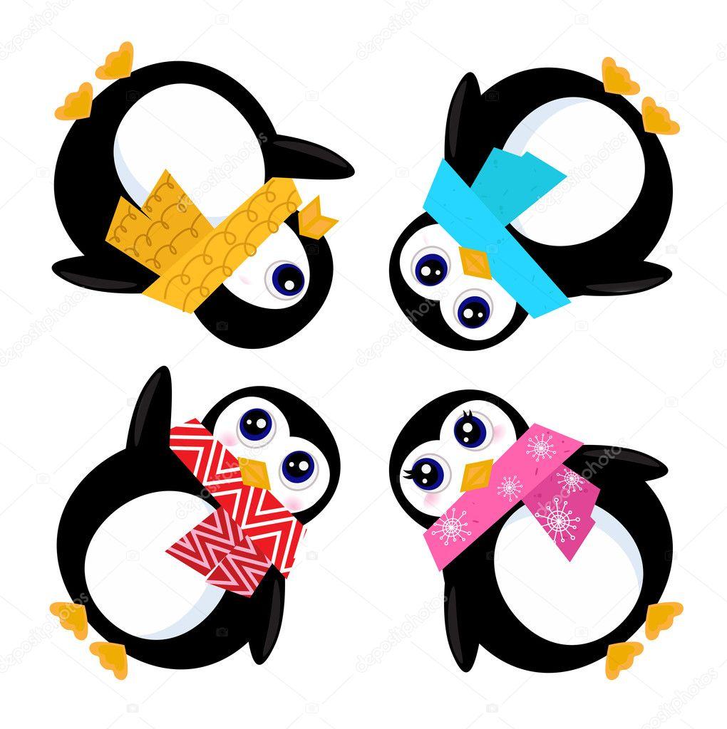 Cartoon penguins holding hands - photo#22